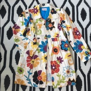 3 Sisters Floral Peacoat jacket cotton swing XS S